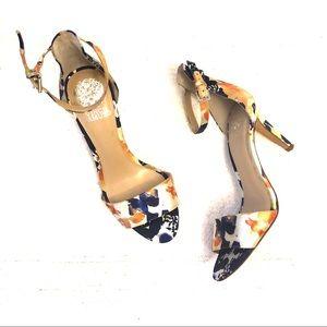 Vince Camuto Satin Floral Print Ankle Strap Heels